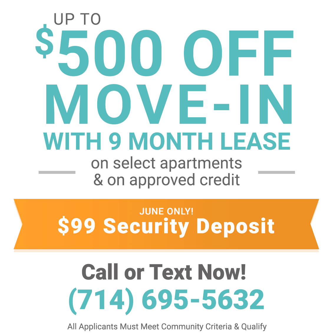 $500 off move-in with 9 month lease only during June